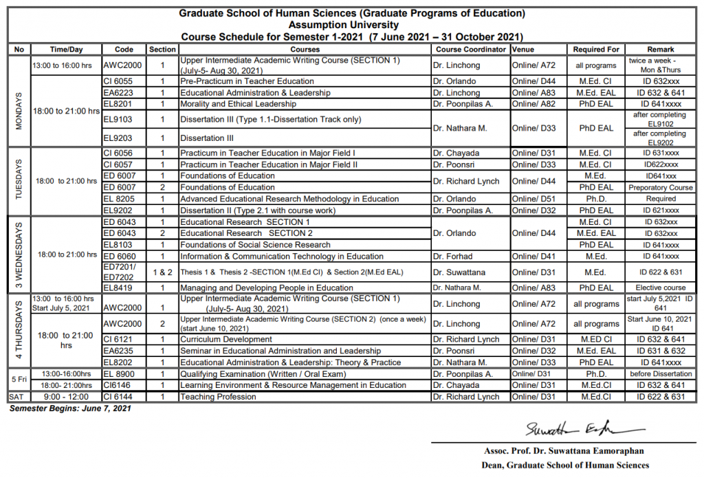 Course Schedule for Semester 1-2021